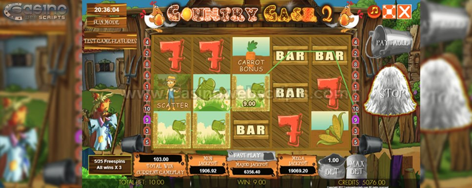 country cash 2 freespins