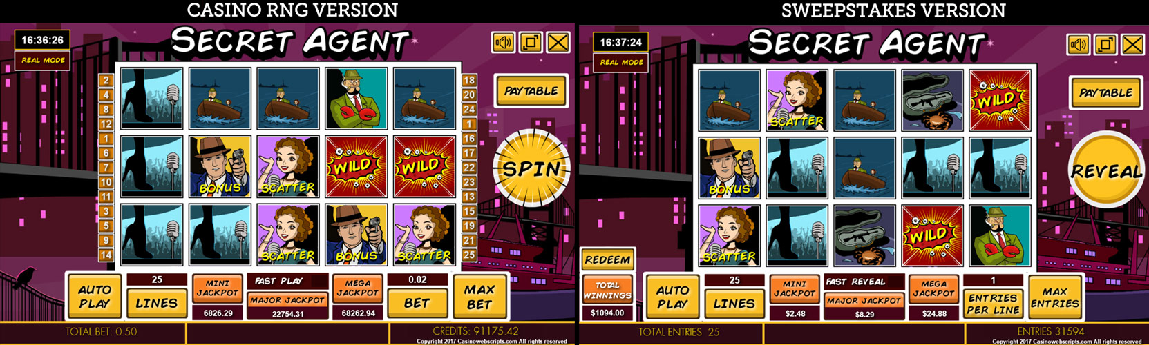 Casino game compared to Sweepstakes game