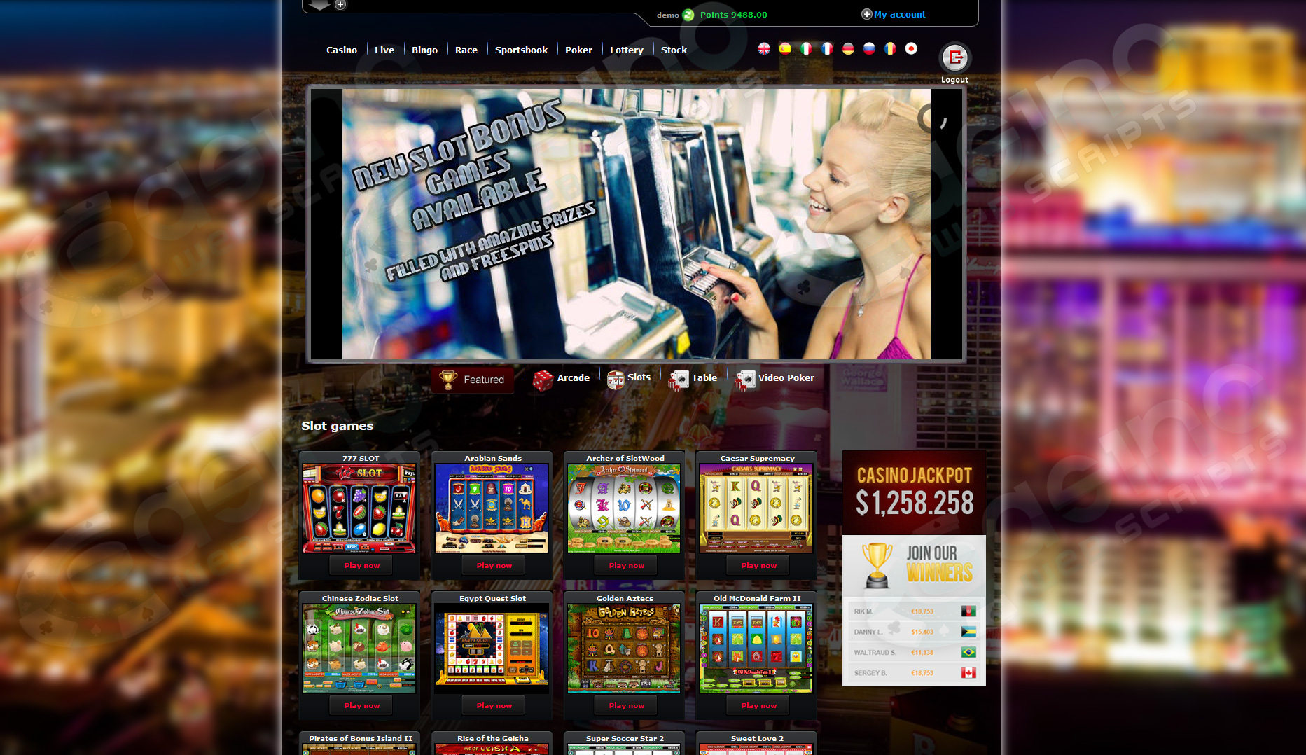 free flash casino script + 30 games