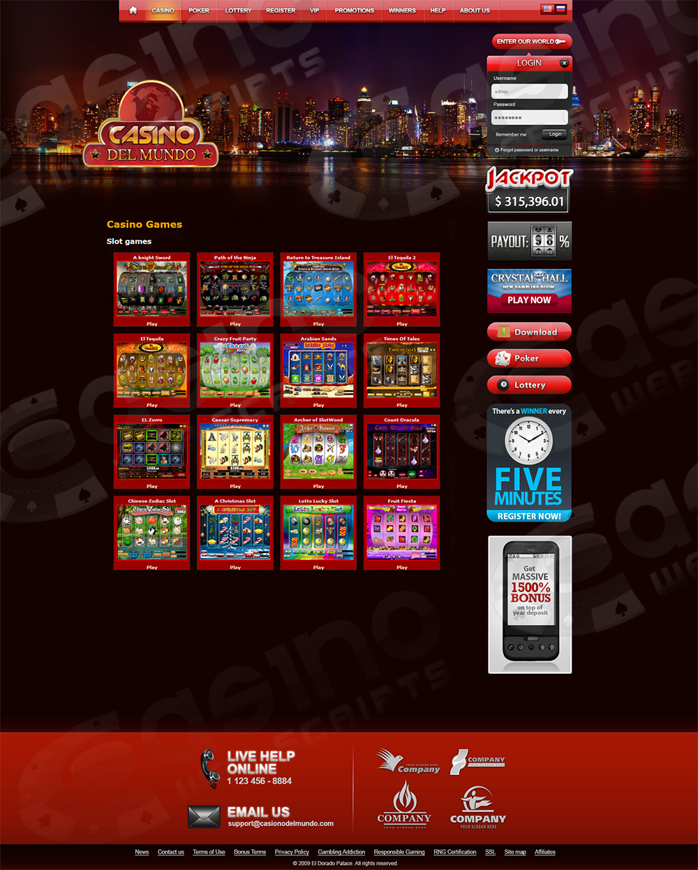 casino flash templates