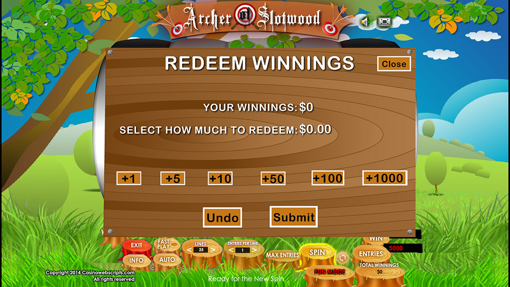 Sweepstakes Slot Archer of SlotWood Redeem entries page