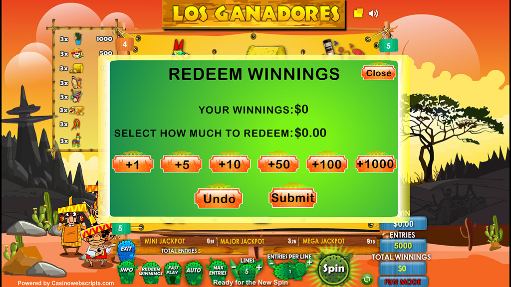 Sweepstakes Slot Los Ganadores Redeem entries page