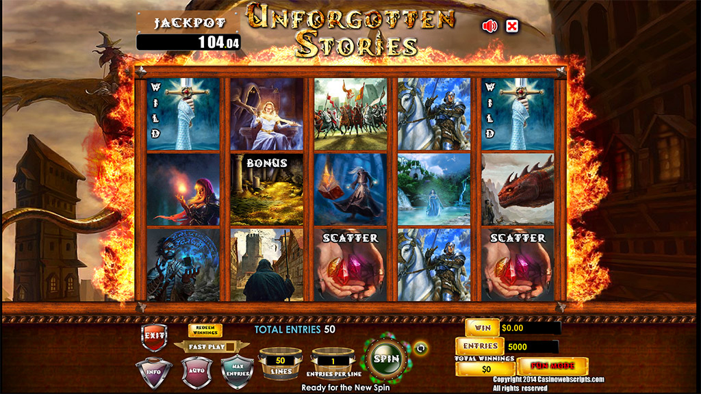 Sweepstakes Slot game Unforgotten Stories Preview Pic