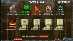 The Great Escape Preview Pic  Symbols Paytable 2