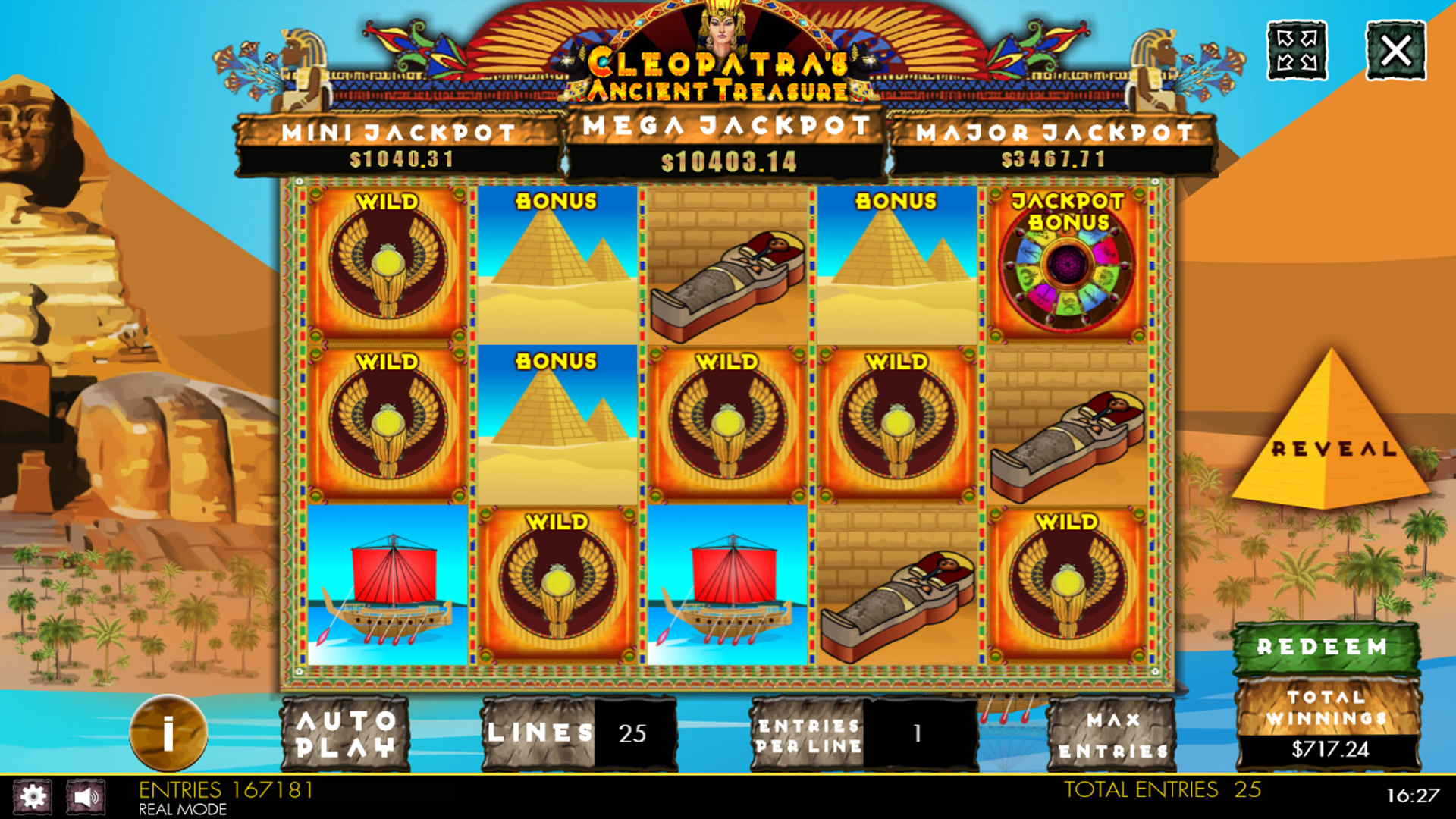 Cleopatra's Ancient Treasure Mobile and PC Preview Pic Main Screen 1