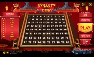 Dynasty Keno 80 Mobile and PC