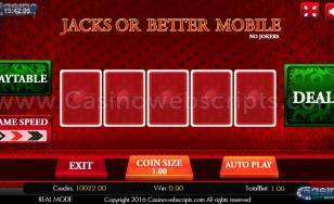 Jacks Or Better Video Poker HTML5 Mobile and PC